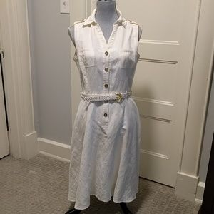 Tahari linen blend sleeveless dress